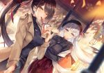 2girls azur_lane bag bangs beige_coat belt beret blue_eyes blurry blush breasts brown_hair buckle casual coat cup depth_of_field drinking dutch_angle eyebrows_visible_through_hair floating_hair hair_ornament hand_up hat hinot holding holding_cup jewelry large_breasts long_hair long_sleeves looking_at_viewer mole mole_under_eye multiple_belts multiple_girls necklace one_side_up open_clothes open_coat outdoors ponytail red_skirt shawl shirt shoukaku_(azur_lane) silver_hair skirt smile sweater turtleneck very_long_hair wind zuikaku_(azur_lane)
