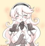 1girl armor closed_eyes corrin_(fire_emblem) corrin_(fire_emblem)_(female) eromame fire_emblem fire_emblem_fates hairband long_hair monochrome open_mouth simple_background solo tearing_up twitter_username upper_body