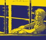 1boy ash_lynx banana_fish dated frown looking_at_viewer m2jam male_focus monochrome shirt sitting solo t-shirt window yellow_theme
