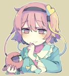 1girl baron_(x5qgeh) black_hairband blue_shirt blush clenched_hand commentary eyebrows_visible_through_hair frilled_sleeves frills hairband hand_to_own_mouth heart holding komeiji_satori long_sleeves pink_eyes pink_hair shirt short_hair simple_background smile solo third_eye touhou upper_body