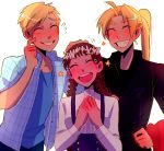 1girl 2boys :d ^_^ ahoge alphonse_elric blonde_hair blue_shirt blush braid brown_hair buttons clenched_hand closed_eyes commentary crying dress_shirt edward_elric english_commentary eyebrows_visible_through_hair finger_to_cheek fingernails flower flying_sweatdrops fullmetal_alchemist furrowed_eyebrows grin hand_on_another's_head hand_on_hip hands_on_own_chest happy happy_tears head_tilt head_wreath height_difference high_ponytail huyandere long_sleeves multiple_boys nervous nina_tucker older open_mouth petting pink_flower plaid plaid_shirt ponytail shirt short_sleeves simple_background skirt smile standing star suspender_skirt suspenders sweatdrop tears teeth twin_braids upper_body upper_teeth what_if white_background white_shirt