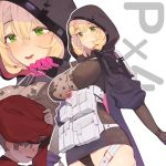 1boy 1girl beret black_dress blonde_hair breasts character_name commander_(girls_frontline) dress girls_frontline green_eyes hair_between_eyes hat hood hood_up hooded_coat juz large_breasts long_hair pouch px4_storm_(girls_frontline) short_hair skin_tight white_background