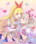 2girls aikatsu! aikatsu!_(series) aikatsu_on_parade! bangs blonde_hair blunt_bangs blush bow brown_eyes cherico commentary dated elbow_gloves eyebrows_visible_through_hair finger_to_mouth gasp gloves gradient gradient_background hair_bow hair_ribbon hairband hand_on_another's_shoulder hand_on_own_chest heart highres hoshimiya_ichigo idol kiseki_raki light_brown_hair long_hair multiple_girls open_mouth puffy_short_sleeves puffy_sleeves red_eyes ribbon short_sleeves shushing sidelocks sideways_mouth signature skirt sleeveless smile sparkle_background star twintails upper_teeth white_gloves