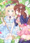 2girls :o alice_in_wonderland animal animal_ears artist_name black_legwear black_ribbon blonde_hair blue_dress blush bow breasts brown_eyes brown_hair closed_mouth club_(shape) collar commentary detached_collar diamond_(shape) dress english_commentary floral_print grass green_eyes hair_bun heart highres holding_playing_card key long_hair lying medium_breasts multiple_girls natsumii_chan neck_ribbon official_art on_back on_grass on_side original oversized_object parted_lips pennant pink_dress pocket_watch print_dress profile puffy_short_sleeves puffy_sleeves rabbit rabbit_ears red_bow ribbon short_sleeves side_bun signature small_breasts smile spade_(shape) string_of_flags striped striped_legwear thigh-highs very_long_hair watch white_bow white_collar wing_collar