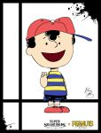 1boy :d ape_(company) artist_name black_hair cap charles_schulz_(style) child earthbound hal_laboratory_inc. kid mcmeel_syndication mother_(game) mother_2 ness nintendo open_mouth parody peanuts shirt shoes short_hair shorts smile solo sora_(company) splatter striped_shirt style_parody super_smash_bros. super_smash_bros._ultimate super_smash_bros_64 trait_joke v xeternalflamebryx