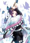 1girl belt belt_buckle black_jacket black_pants buckle bug butterfly butterfly_hair_ornament closed_mouth cowboy_shot hair_ornament haori highres hmw_(pixiv7054584) holding holding_sword holding_weapon insect jacket japanese_clothes katana kimetsu_no_yaiba kochou_shinobu long_sleeves looking_at_viewer pants purple_hair short_hair smile solo standing sword violet_eyes weapon white_background white_belt