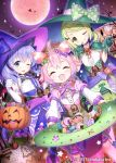 3girls :3 ;p animal_ears bangs bell bell_choker blue_eyes blush broom broom_riding candy cat_ears choker closed_eyes cup drinking_glass dutch_angle elbow_gloves fang food full_moon gloves green_eyes green_hair halloween hat jack-o'-lantern looking_at_viewer matanonki moon morinaka_kazaki multiple_girls night nijisanji one_eye_closed open_mouth pink_hair purple_hair short_hair silhouette smile tongue tongue_out ushimi_ichigo virtual_youtuber wine_glass witch_hat yuuki_chihiro