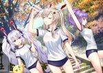 3girls alternate_costume autumn_leaves ayanami_(azur_lane) azur_lane bangs bare_thighs blue_buruma bottle buruma closed_eyes commentary_request day eyebrows_visible_through_hair green_eyes gym_uniform highres javelin_(azur_lane) laffey_(azur_lane) lavender_hair long_hair long_ponytail manjuu_(azur_lane) medium_hair multiple_girls outdoors platinum_blonde_hair ponytail pouring pouring_onto_self purple_hair red_eyes shirt sidelocks sony_kisaragi stairs stone_stairs stretch tree twintails very_long_hair water water_bottle wet wet_clothes wet_shirt