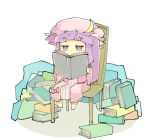1girl baron_(x5qgeh) blue_ribbon book bow chair commentary crescent dress eyebrows_visible_through_hair hat hat_ornament hat_ribbon highres holding holding_book jitome lavender_eyes long_hair long_sleeves mob_cap patchouli_knowledge pink_dress pink_headwear purple_hair reading red_bow red_ribbon ribbon sitting solo striped striped_dress touhou white_background wide_sleeves