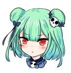 1girl bailingxiao_jiu bangs blue_bow blue_ribbon blush bow double_bun earrings eyebrows_visible_through_hair green_hair hair_bow hair_ornament hololive jewelry looking_at_viewer parted_lips portrait red_eyes ribbon short_hair simple_background skull_earrings skull_hair_ornament solo uruha_rushia v-shaped_eyebrows virtual_youtuber white_background