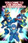 5boys android arm_cannon blue_eyes bodysuit brown_hair crossover frown green_eyes helmet hoshikawa_subaru_(rockman) multiple_boys official_style rinji_(bonus-level) robot rock_volnutt rockman rockman_(character) rockman_(classic) rockman_dash rockman_exe rockman_exe_(character) rockman_x ryuusei_no_rockman spiky_hair super_smash_bros. visor weapon x_(rockman)