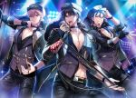 3boys arm_up black_choker black_eyes black_gloves black_hair black_headwear black_jacket black_pants black_shirt blonde_hair blue_hair choker collarbone collared_shirt command_spell commentary_request cross cross_necklace cu_chulainn_(fate/grand_order) dress_shirt earphones earphones fate/grand_order fate/stay_night fate_(series) fingerless_gloves fur-trimmed_jacket fur_trim gilgamesh gloves grin hand_up hat headset highres holding holding_microphone jacket jewelry kotomine_kirei lancer latin_cross long_hair long_sleeves looking_at_viewer low_ponytail male_focus microphone multiple_boys necklace open_clothes open_jacket open_mouth pants parted_lips peaked_cap ponytail purple_vest red_eyes rijjin shirt single_glove smile stage_lights vest