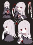1girl bare_shoulders black_background blood blush_stickers dress grey_dress grey_hair heart highres holding middle_finger multiple_views off-shoulder_dress off_shoulder original profile red_eyes severed_limb sheya simple_background upper_body
