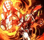 burning clenched_hands fire glowing glowing_eyes green_eyes gundam gundam_astray_red_frame gundam_seed gundam_seed_astray highres ishiyumi mecha no_humans solo