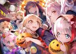 6+girls :d absurdres admiral_graf_spee_(azur_lane) azur_lane bangs black_gloves black_hair black_headwear black_sleeves blonde_hair blue_dress blue_eyes blurry blurry_background bolt bow brown_eyes candy character_request commentary_request crown depth_of_field detached_sleeves deutschland_(azur_lane) dress eyebrows_visible_through_hair fangs flower food food_in_mouth forehead gloves grin hair_between_eyes hair_flower hair_ornament halloween_basket hat head_wings highres hood hood_up hoshizaki_reita huge_filesize jack-o'-lantern javelin_(azur_lane) lollipop long_sleeves macaron maid_headdress marshmallow meowfficer_(azur_lane) mini_crown mouth_hold multicolored_hair multiple_girls nurse_cap open_mouth parted_bangs parted_lips pennant pink_hair puffy_short_sleeves puffy_sleeves purple_hair red_bow red_eyes red_flower red_rose red_wings redhead rose sharp_teeth short_over_long_sleeves short_sleeves silver_hair smile stitches streaked_hair string_of_flags stuffed_animal stuffed_toy stuffed_unicorn swirl_lollipop teeth tilted_headwear twintails upper_teeth v-shaped_eyebrows vampire_(azur_lane) white_dress white_headwear wide_sleeves wings witch_hat