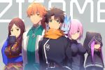 2boys 3girls ahoge armor black_armor black_hair black_shirt blue_eyes breasts brown_hair chaldea_uniform cis05 cloak closed_mouth commentary_request creature cup dress eyebrows_visible_through_hair fate/grand_order fate_(series) fou_(fate/grand_order) fujimaru_ritsuka_(male) green_eyes hair_between_eyes hair_over_one_eye holding holding_cup hood hooded hooded_cloak jitome large_breasts leonardo_da_vinci_(fate/grand_order) long_hair looking_at_viewer mash_kyrielight medusa_(lancer)_(fate) messy_hair mug multiple_boys multiple_girls orange_hair orange_scarf pink_hair romani_archaman scarf shirt short_hair sipping spiky_hair violet_eyes