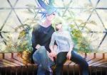 2boys blue_eyes blue_hair casual crossed_legs denim galo_thymos green_hair hands_clasped highres jeans jewelry lio_fotia male_focus multiple_boys necklace own_hands_together pants promare rei_snow_garden signature sitting spiky_hair violet_eyes