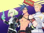 3boys androgynous blonde_hair blue_hair closed_eyes cocoda cravat crossed_arms fire galo_thymos green_fire green_hair holding holding_paper kray_foresight lio_fotia mad_burnish male_focus multiple_boys paper promare purple_fire shirtless sign spiky_hair uniform