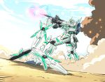 aiming beam_rifle blue_sky commentary_request day dust energy_gun green_eyes gundam gundam_08th_ms_team gundam_unicorn highres ishiyumi mecha no_humans parody shield sky smoke solo standing unicorn_gundam weapon