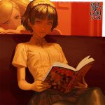 2girls arm_rest atlus bangs bare_arms blonde_hair book braid brown_hair buttons closed_mouth collared_shirt crown_braid cute dated fingernails hair_ornament hairclip head_rest holding holding_book ikeda_(cpt) indoors long_hair looking_down megami_tensei multiple_girls niijima_makoto open_book pantyhose persona persona_5 plaid plaid_skirt reading red_eyes shirt short_hair short_sleeves sitting skirt smile solo_focus swept_bangs takamaki_anne wing_collar