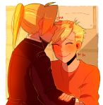 2boys :> ^_^ alphonse_elric backlighting blonde_hair blush brothers brown_coat closed_eyes coat commentary edward_elric english_commentary eyebrows_visible_through_hair fingernails forehead_kiss from_behind fullmetal_alchemist furrowed_eyebrows giggling hair_over_one_eye hand_on_another's_arm hand_on_another's_head highres huyandere kiss long_sleeves male_focus multiple_boys orange_shirt outdoors ponytail profile shaded_face shirt siblings straight_hair sunlight upper_body