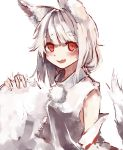 1girl absurdres animal_ears bangs blush commentary_request detached_sleeves eyebrows_visible_through_hair fang highres holding_own_tail inubashiri_momiji looking_at_viewer medium_hair open_mouth pom_pom_(clothes) red_eyes shirt silver_hair simple_background sleeveless sleeveless_shirt solo tail touhou tsuyukusa_(tuyukusa_aaa) upper_body white_background white_shirt wolf_ears wolf_tail