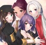 4girls ahoge bangs bernadetta_von_varley black_jacket blue_eyes blue_ribbon blush braid brown_hair commentary_request dorothea_arnault earrings edelgard_von_hresvelg eyebrows_visible_through_hair fire_emblem fire_emblem:_three_houses green_eyes hair_ribbon jacket jewelry long_hair long_sleeves multiple_girls one_eye_closed open_mouth parted_bangs petra_macneary ponytail purple_hair redhead ribbon satoimo_chika short_hair smile wavy_hair white_hair