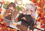 2girls :d absurdres adjusting_eyewear autumn_leaves azur_lane bangs black-framed_eyewear black_shirt blue_eyes blush book bow breasts brown_eyes brown_hair brown_jacket brown_skirt closed_mouth commentary_request earrings eyebrows_visible_through_hair glasses grey_shorts hair_between_eyes hair_bow hand_up high_ponytail highres holding holding_book huge_filesize izumo_neru jacket jewelry leaf long_hair long_sleeves maple_leaf medium_breasts mole mole_under_eye multiple_girls open_book open_clothes open_jacket open_mouth picture_frame plaid plaid_shorts puffy_long_sleeves puffy_sleeves red_bow shelf shirt short_shorts shorts shoukaku_(azur_lane) side_ponytail silver_hair sitting skirt smile very_long_hair zuikaku_(azur_lane)