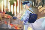 1girl adapted_costume alternate_hairstyle animal_ears architecture autumn autumn_leaves azur_lane bangs commentary_request cooking east_asian_architecture falling_leaves fish food fox_ears fox_tail from_behind head_scarf japanese_clothes kaga_(azur_lane) kimono kitchen kyuubi leaf maple_leaf multiple_tails obi onigiri poligon_(046) rake rice_cooker rice_spoon sash short_hair short_ponytail sidelocks solo squash sweet_potato tail white_hair white_kimono