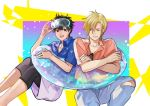 2boys adjusting_eyewear ash_lynx banana_fish belt black_hair blonde_hair blue_shirt crossed_arms feet_out_of_frame goggles hair_between_eyes hawaiian_shirt innertube looking_at_another male_focus multiple_boys okumura_eiji shirt short_sleeves shorts sitting smile torn_clothes transparent xiaochong