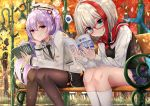 2girls admiral_graf_spee_(azur_lane) ajax_(azur_lane) alternate_costume autumn autumn_leaves azur_lane bench black_neckwear black_skirt black_vest blazer blue_eyes blue_skirt book brown_legwear casual chin_rest closed_mouth collared_shirt commentary_request ginkgo_leaf glasses grey_hair grey_headwear grey_jacket grey_shirt hair_ribbon hand_up holding holding_book jacket kneehighs lamppost light_rays long_hair long_sleeves looking_at_viewer miniskirt multicolored_hair multiple_girls necktie one_side_up open_book oshishio outdoors pantyhose park_bench pink_eyes pleated_skirt purple_hair red-framed_eyewear redhead ribbon scarf shark_tail shirt sitting skirt smile spoken_squiggle squiggle sunbeam sunlight thighs tree two-tone_hair undershirt vest white_legwear white_shirt