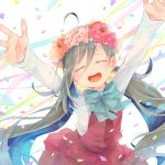 1girl ahoge blue_bow blush bow bowtie closed_eyes colis confetti facing_viewer flower grey_hair hair_between_eyes hair_bun halterneck head_wreath kantai_collection kiyoshimo_(kantai_collection) long_hair long_sleeves low_twintails open_mouth outstretched_arms red_flower round_teeth school_uniform shirt smile solo teeth twintails upper_teeth very_long_hair white_background white_shirt