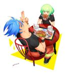 2boys blue_hair chair eating food food_on_face galo_thymos gloves green_hair half_gloves hamburger highres ke889 lio_fotia looking_at_viewer looking_back male_focus multiple_boys promare sitting table wristband