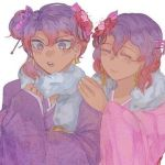 kanade_otonokouji otonokoji_hibiki purple_hair redhead scarf super_danganronpa_another_2 twins violet_eyes