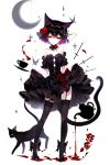 1girl animal_ears bangs black_dress black_hair black_legwear cat cat_ears cat_tail crescent_moon cup detached_collar dress dress_lift flower full_body garter_straps hair_between_eyes hair_flower hair_ornament highres lifted_by_self looking_at_viewer moon original red_eyes rose sheya short_hair signature solo standing strapless strapless_dress tail teacup teapot thigh-highs white_background