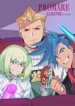 3boys anger_vein blue_hair cocoda copyright_name dated fan galo_thymos glowstick green_hair kray_foresight lio_fotia looking_at_viewer male_focus multiple_boys paper_fan promare red_eyes smile spiky_hair twitter_username uchiwa violet_eyes
