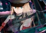 1girl bismarck_(kantai_collection) blonde_hair blue_eyes breastplate cat cigarette close-up commentary_request detached_sleeves hat kantai_collection looking_to_the_side military_hat mouth_hold okayu_(papiko1111) peaked_cap reflection seatbelt sitting smoking solo upper_body