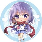 1girl angel_beats! artist_name bangs blue_skirt blush brown_footwear can chibi eyebrows_visible_through_hair full_body hair_between_eyes holding holding_can irie_(angel_beats!) kneehighs long_hair long_sleeves looking_at_viewer miniskirt nakamura_hinato open_mouth pink_neckwear plaid plaid_scarf pleated_skirt purple_hair red_scarf scarf school_uniform shiny shiny_hair shirt skirt solo standing very_long_hair violet_eyes white_background white_legwear white_shirt