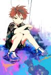 1boy black_hair full_body looking_at_viewer male_focus maruta_(ieiieiiei5316) multicolored_hair original redhead shoes shorts sitting smile sneakers solo two-tone_hair yellow_eyes