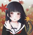 1girl autumn_leaves bangs black_hair black_shirt blurry blurry_background blurry_foreground collarbone commentary_request depth_of_field enma_ai eyebrows_visible_through_hair hand_up jigoku_shoujo kozue_akari leaf long_hair long_sleeves looking_at_viewer maple_leaf parted_lips red_eyes sailor_collar school_uniform serafuku shirt solo sparkle upper_body white_sailor_collar