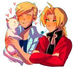 2boys :d :t ^_^ ahoge alphonse_elric animal aqua_outline bangs black_shirt blonde_hair blue_shirt blush braid brothers cat cheek_licking closed_eyes collarbone collared_shirt crossed_arms edward_elric eyebrows_visible_through_hair eyes_visible_through_hair face_licking fingernails fullmetal_alchemist furrowed_eyebrows half-closed_eyes heart height_difference highres holding holding_animal holding_cat huyandere jacket licking looking_at_another looking_to_the_side male_focus multiple_boys open_mouth outline parted_bangs plaid plaid_shirt pout red_jacket shaded_face shirt short_sleeves siblings side-by-side simple_background smile squiggle tongue tongue_out upper_body white_background white_cat yellow_eyes