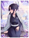 1girl absurdres animal_print bangs belt black_hair blue_nails breasts butterfly_hair_ornament butterfly_print clouds cloudy_sky coat day flower forehead gradient_hair hair_ornament haori highres huge_filesize japanese_clothes kimetsu_no_yaiba kochou_shinobu large_breasts lips long_sleeves looking_to_the_side multicolored_hair nail_polish outdoors pants parted_bangs plant purple_hair seul11012 short_hair sitting sky solo tree two-tone_hair uniform wide_sleeves wisteria