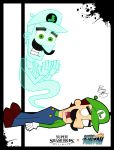 1boy butch_hartman_(style) danny_phantom dead dual_persona ghost gloves green_eyes green_shirt hat human luigi luigi's_mansion mario_(series) mario_bros. moustache multiple_boys multiple_persona nickelodeon nintendo nintendo_ead open_mouth overalls parody shoes solo sora_(company) splatter style_parody super_mario_bros. super_smash_bros. super_smash_bros._ultimate super_smash_bros_64 teeth viacom what xeternalflamebryx