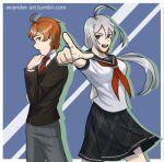 1_boy 1_girl brown_eyes duo orange_hair pointing_at_viewer silver_hair sora_(super_danganronpa_another_2) super_danganronpa_another_2 yuki_maeda_(super_danganronpa_another_2)