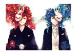 2boys black_jacket black_kimono blue_eyes blue_flower blue_hair brothers camellia closed_mouth collared_shirt flower formal hair_ornament jacket japanese_clothes kimono looking_at_viewer male_focus mask mask_on_head mask_over_one_eye matsuno_karamatsu matsuno_osomatsu mochinu multiple_boys necktie one_eye_covered osomatsu-kun osomatsu-san pom_pom_(clothes) red_eyes red_flower redhead shirt siblings side-by-side smile suit tassel upper_body vest waistcoat white_background white_neckwear white_shirt white_vest