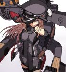 1girl absurdres bare_shoulders bismarck_(kantai_collection) blonde_hair blue_eyes blush breastplate breasts brown_gloves detached_sleeves eyebrows_visible_through_hair gloves hair_between_eyes hair_ornament hat highres kantai_collection karasuma_kuraha large_breasts long_hair looking_at_viewer machinery military military_hat military_uniform peaked_cap simple_background smile solo thigh-highs turret uniform white_background