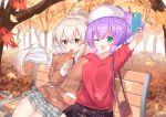 2girls autumn_leaves ayanami_(azur_lane) azur_lane bag bangs bench beret black_ribbon black_skirt blue_skirt blurry blurry_background blush breasts brown_jacket cellphone collared_shirt commentary_request covered_mouth depth_of_field eyebrows_visible_through_hair floating_hair food ginkgo ginkgo_leaf green_eyes hair_between_eyes hat high_ponytail highres holding holding_cellphone holding_food holding_phone jacket javelin_(azur_lane) leaf light_brown_hair long_hair long_sleeves looking_at_viewer maple_leaf medium_breasts multiple_girls neck_ribbon on_bench park_bench phone plaid plaid_skirt pleated_skirt ponytail purple_hair red_shirt ribbon shirt shoulder_bag sitting sitting_on_bench skirt sleeves_past_wrists takeg05 taking_picture tree very_long_hair white_headwear white_shirt