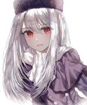 1girl :d bangs deep_(deep4946) eyebrows_visible_through_hair fate/stay_night fate_(series) hair_between_eyes hat highres illyasviel_von_einzbern long_hair looking_at_viewer open_mouth purple_capelet purple_coat purple_headwear red_eyes scarf silver_hair simple_background smile solo upper_body white_background white_scarf