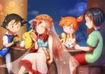 2boys 2girls ;) black_hair black_shirt blue_eyes blue_shirt brown_hair closed_mouth collared_shirt fingerless_gloves food frown gen_1_pokemon gen_2_pokemon gloves green_gloves green_shirt head_rest headband highres holding holding_food kanon_(pokemon) kasumi_(pokemon) kenji_(pokemon) lens_flare long_hair low_twintails multiple_boys multiple_girls one_eye_closed orange_hair pikachu pokemon_m05 red_headband red_shorts satoshi_(pokemon) shiny shiny_hair shirt short_hair short_shorts short_sleeves shorts sitting skirt sleeveless sleeveless_shirt smile suspenders togepi twintails v-shaped_eyebrows white_shirt white_skirt wing_collar yellow_shirt yuki56