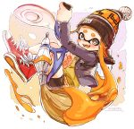 1girl bangs beanie bike_shorts black_jacket black_shorts blazer blunt_bangs brown_sweater commentary cross-laced_footwear dated domino_mask fangs full_body grey_eyes harutarou_(orion_3boshi) hat highres holding holding_weapon ink_tank_(splatoon) inkbrush_(splatoon) inkling jacket jumping logo long_hair looking_at_viewer mask miniskirt open_mouth orange_hair orange_headwear orange_skirt orange_tongue paint_splatter plaid plaid_skirt pleated_skirt pointy_ears red_footwear school_uniform shoes shorts shorts_under_skirt skirt smile sneakers solo splatoon_(series) splatoon_1 sweater tentacle_hair v-shaped_eyebrows weapon